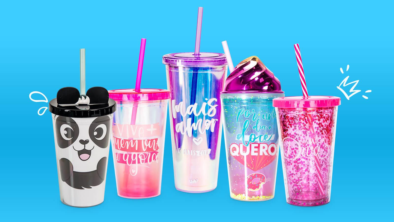 copos canudo para revender em lojas de moda e acessórios